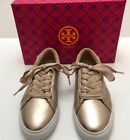 TORY BURCH MARIONQUILTED METALLIC LACE UP SNEAKER METALLIC NAPPA LEATHER SIZE 7