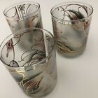 Culver Vintage Gold Trimmed Frosted Drinking Glasses Collectible Set of 3