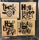 STAMPIN UP ALPHABET SOUP WOOD UNMOUNTED SET OF 4 RUBBER STAMPS