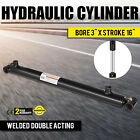 Hydraulic Cylinder Welded Double Acting 3 Bore 16 Stroke Cross Tube NEW