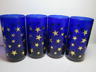 4 - Libbey Cobalt Blue Tumblers with Gold Stars