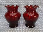 Vintage 2 Ruby Red Anchor Hocking Marked Vases Ripple Top Mid Century
