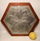 Arts and Crafts Wall Hanging Aluminium Repousse Daisy on Wood Board