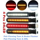 4x 12V Motorcycle Flowing LED Turn Signal Indicator White DRL Red Brake Lights