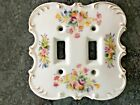 Vintage Ceramic Hand Painted Double Switch Plate Floral Shabby Cottage Style WOW