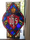 ANTIQUE STAINED GLASS CHURCH WINDOW CENTERPIECE AMAZING BOSTON MASS