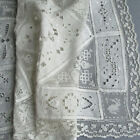 Antique ITALIAN Mixed LACE + Linen Runner * RETICELLA Filet EMBROIDERY Cutwork +