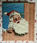 Vintage 1940s UNUSED Christmas Greeting Card Classic Jolly Santa Claus Stocking