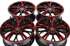 4 New DDR R25 17x7 5x108 110 40mm Black Polished Red 17 Rims Wheels