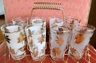 (8) Vintage Mid-Century LIBBY GOLD LEAF Drinking Glasses + Carry Caddy
