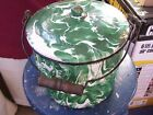 Rare Emerald Ware Covered Bucket w/Matching Lid, Bail Handle