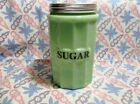 Jadeite Green Glass Large Sugar Canister with Metal Lid in Excellent Condition