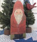 Antique primitive style painted Santa wooden board ,original painting