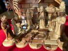 Nativity Set Deluxe Hand Carved Olive Wood For Xmas 11Figures + Stable 9x13x11