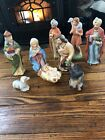 Homco 9 Piece Porcelain Nativity Set