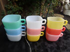 9 Vintage Glasbake Lipton Square Mugs Coffee Cups Soup Bowls Pastel Retro