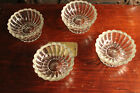 set of four berry or fruit bowls clear glass with pedistal