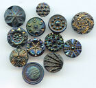 12 ANTIQUE small iridescent luster black glass buttons