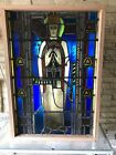 Antique Church Stained Glass Window Architectural pope Leo xii art deco