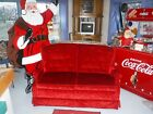 Vintage~Coca Cola Red~Crushed Velvet~Love Seat~Christmas~Wedding Prop~Party~FUN!