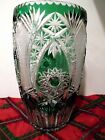 STUNNING LARGE 12 BOHEMIAN EMERALD GREEN CUT TO CLEAR VASE OUTSTANDING