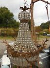 Antique Royal French Empire Style Crystal Chandelier Light w/ Stag Elk Deer Head