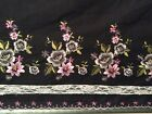 Scalloped Border Embroidered flower Cotton fabric on black 52 Wide sold BTY