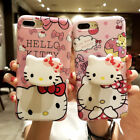 For iPhone X XS Max 8 7 6 plus Cute Hello kitty toy Stand Holder soft phone case