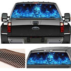 Pickup Rear Window Blue Flaming Skull Sticker Decoration Graphics Decal 135x36cm