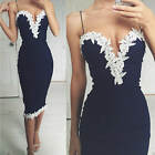 Sexy Women Bodycon Strappy V Floral Lace Cocktail Party Short Dress Pencil Dress