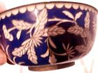 White Flowered Marked China Brass Rim and Foot