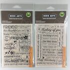 Hero Arts Lot Of 2 Clear Stamp Sets Everyday Sayings  Friends Greetings Words