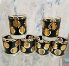 Vintage Libby Mid Century Black Gold Coin Double Old Fashioned Glasses MCM Bar