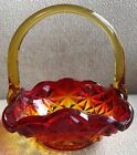 RED AMBERINA ORANGE CARNIVAL DISH HANDLE BASKET