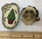 Pins Boyds Bears Folkwear Frog Christmas Bell And Papel Treel Resin Lot of 2