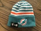 Miami Dolphins Stripe Beanie Knit Hat Offically Licensed By New Era And The NFL
