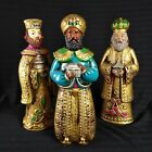Vtg 3 Wise Men Figures Jeweled Paper Mache Made in Japan 70s Christmas Nativity