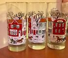 3 Vintage Libby Winter Village Drink  glasses. Horse Carriage Snow Holiday Town