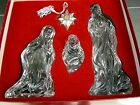 Nativity Glass Set 4 Lenox Millennium Holidays German Crystal Christmas Gift Box