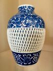 ANTIQUE JAPANESE BLUE AND WHITE FLORAL AND LATTICE VASE, SIGNED