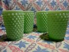 Jadeite Green Glass Hobnail Tumblers 9oz x 4 in Excellent Condition