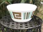 Vintage Mid Century Federal Glass Mixing Bowl Gold and Turquoise on White