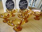 Vintage 1973 Tiara Indiana Glass Amber Brown Open Salts Set Of 6 With Boxes