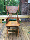 Used Oak Chair with Carved Back and Arm Rests