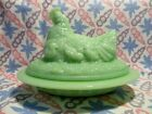 Jadeite Green Glass Hen with Chicks On Nest Butter Dish in Excellent Condition.