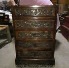 Old Chinese Huanghuali Wood Carved Eight treasures symbol Drawer Storage Cabinet