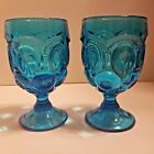 L.E. Smith Blue Moon and Stars Water Goblets