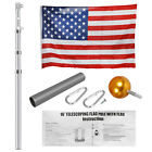 162025 Aluminum Sectional Telescopic Flagpole Kit Outdoor Pole+1PC US Flag