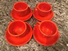 Homer Laughlin Fiestware 4 Cups & Saucers - Poppy