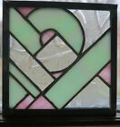 VINTAGE LEADED STAINED GLASS HANGER ART DECO PINK GREEN SQUARE